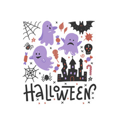 flying ghost spirit on haloween invitation vector image