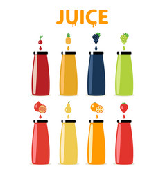 Glass beverage bottle set fresh juices lemonade vector