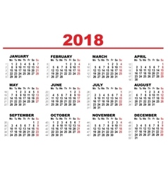 Grid calendar for 2018 vector image
