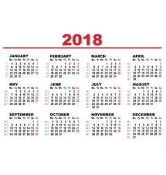 Grid calendar for 2018 vector image