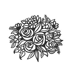 Hand drawing and sketch flowers black and white vector