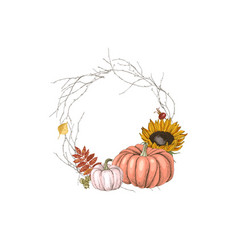 hand drawn fall wreath vector image