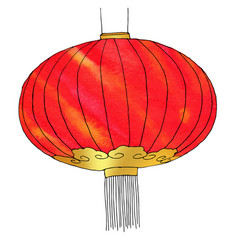 Hand drawn watercolor chinese lantern chinese new vector