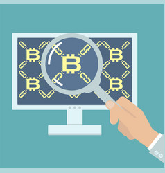 Hand with magnifier analyzing bitcoin vector