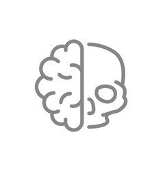 human brain with skull line icon healthy internal vector image