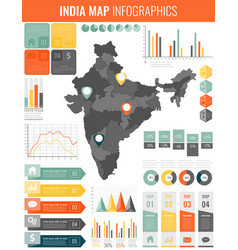 india map with infographic elements infographics vector image