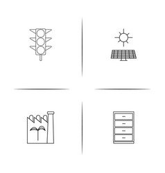 Industry simple linear icon setsimple outline vector