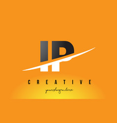 Ip i p letter modern logo design with yellow vector