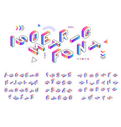 isometric font creative colored geometric vector image