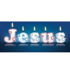 JESUS written with burning candles vector image