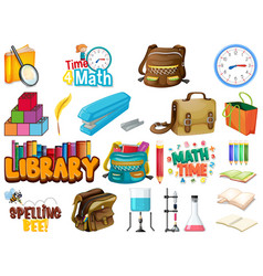 Large set school items on white background vector