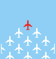 Leadership concept one red leader airplane leads vector