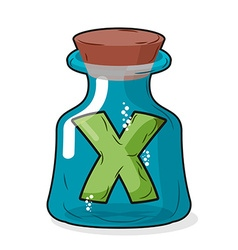 letter X in bottle for experiments Letter in vector image