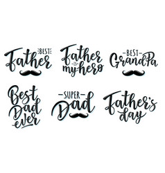 lettering for fathers day set vector image