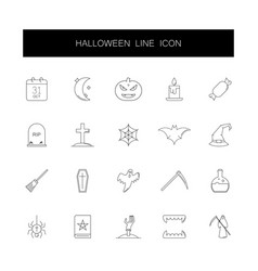 line icons set halloween pack vector image