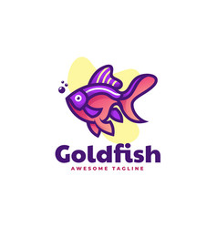 Logo goldfish simple mascot style vector