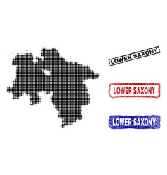 Lower saxony state map in halftone dot style with vector