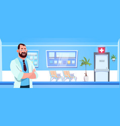 male doctor standing over modern hospital or vector image