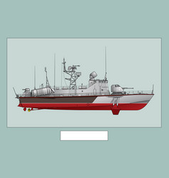 missile boat military ship vector image