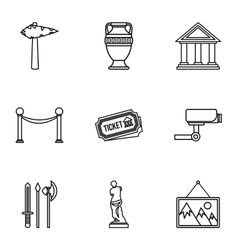 Museum icons set outline style vector image