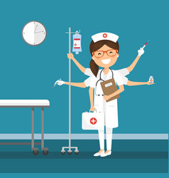nurse multitasking at hospital vector image