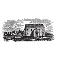 Old meeting house hampden vintage vector