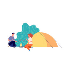 outdoor relax hiking eco tourism camping couple vector image
