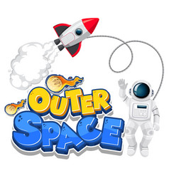 Outer space logo with spaceship and astronaut vector