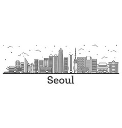 Outline seoul south korea city skyline with vector