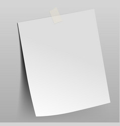 Paper sheet attached scotch tape to wall vector