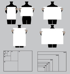People holding blank poster templates set vector