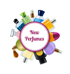 perfume bottles under circle with place for vector image