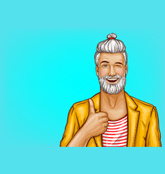 pop art hipster winks and shows thumbs up vector image