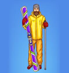 pop art skier man sketch of vector image