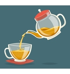 Pour Tea Drink from Glass Teapot Transparent vector image