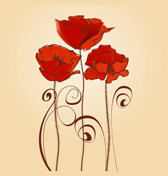 Red flowers celebratory card poppy design elements vector