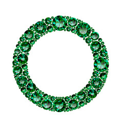 Round frame made of realistic green emeralds with vector