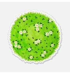 round watercolor meadow like planet with green vector image