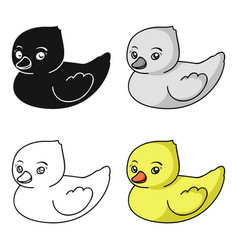 Rubber duck toy icon in cartoon style isolated on vector
