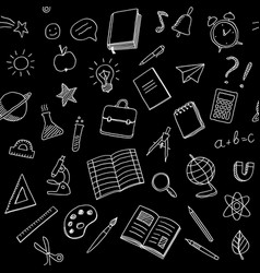 school seamless pattern with chalk doodles style vector image