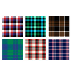 Seamless checkered plaid pattern bundle 5 vector