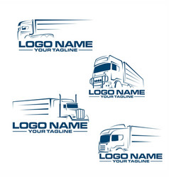 Semi truck line logo vector