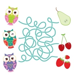 set bright colorful owls with pear cherry vector image