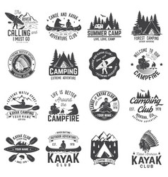 Set of canoe kayak and camping club badge vector