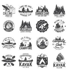 set of canoe kayak and camping club badge vector image