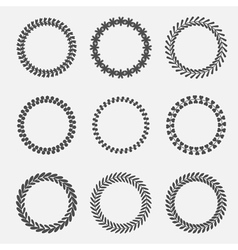 Set of silhouette round laurel wheat wreaths vector image