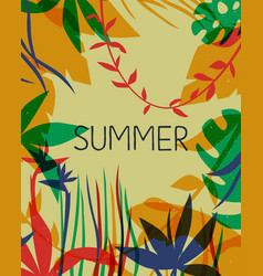 summer card tropical paradise flower plants vector image
