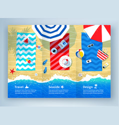 Summer vacation tri-fold brochure design vector