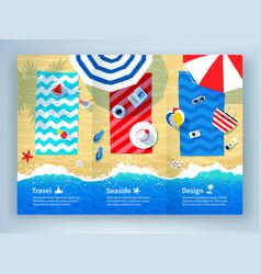 summer vacation tri-fold brochure design vector image
