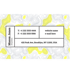 super trendy business card template contour map vector image